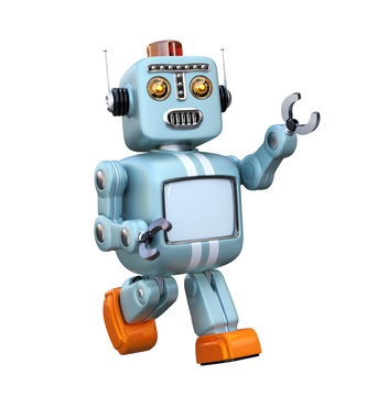 Cute retro robot isolated on white background. 3D rendering image with clipping path.